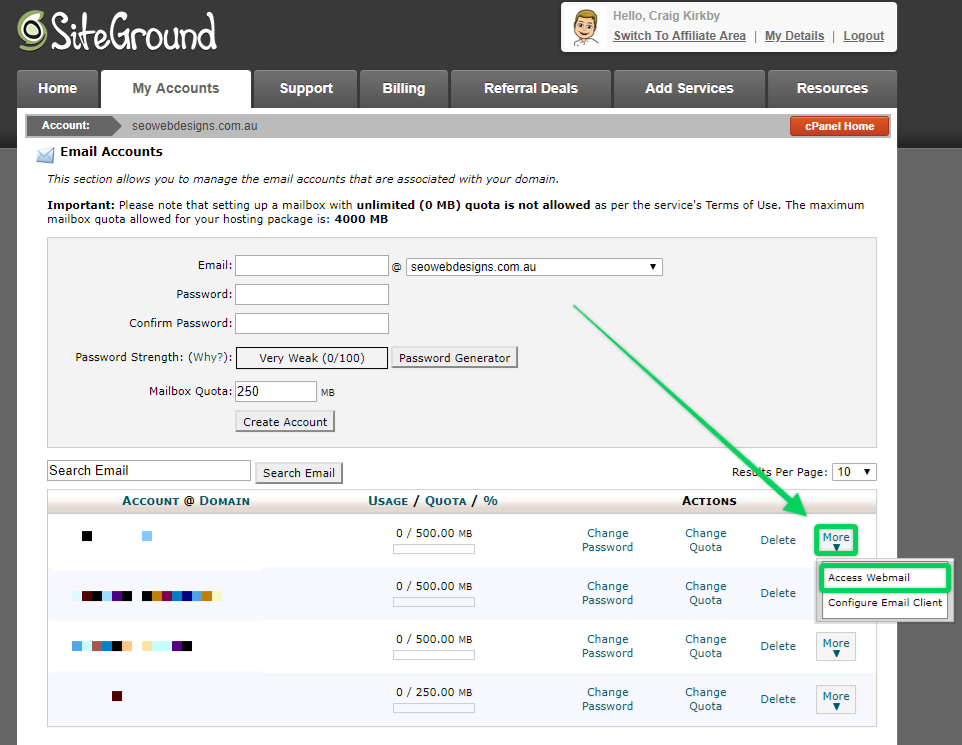 Setting Up Your Emails at Siteground