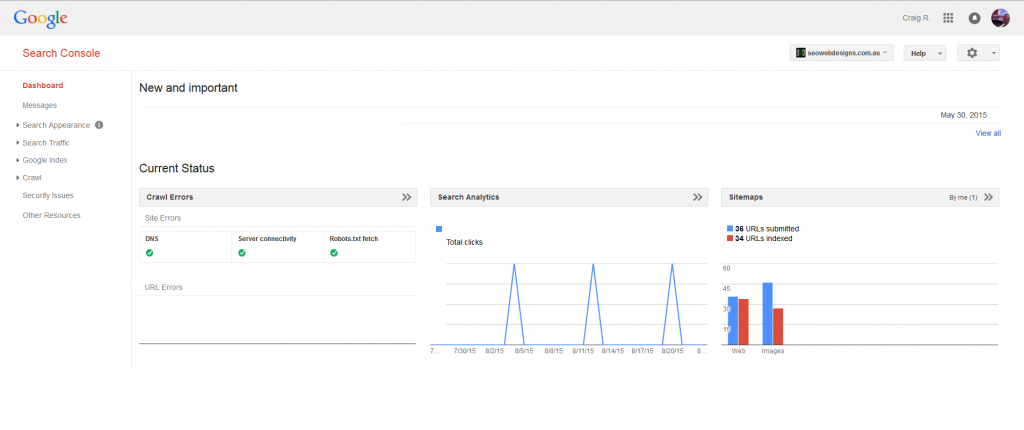 Google Search Console Dashboard Current Status.