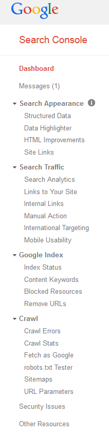 Google Search Console Dashboard Sidebar.