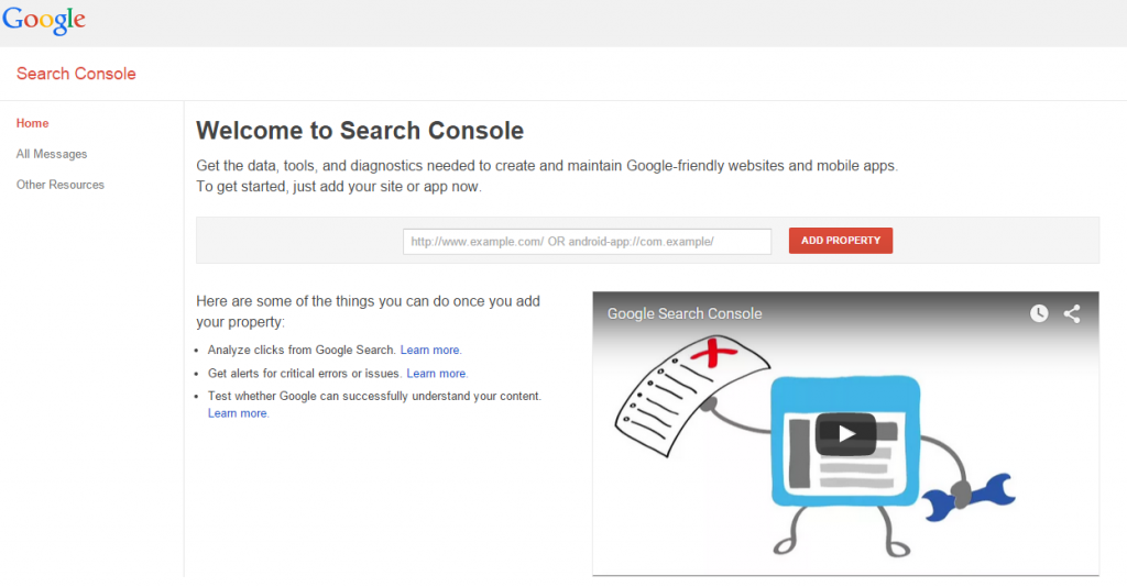 Welcome to Google Search Console.