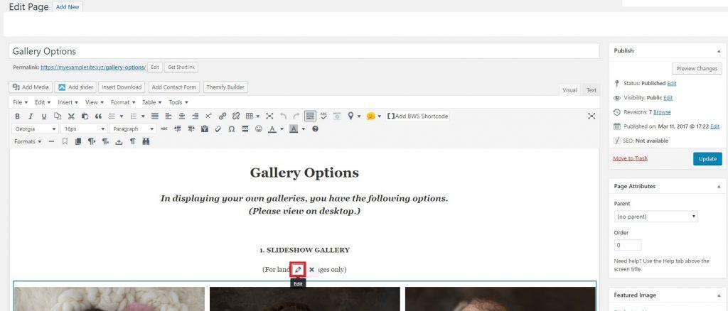 WordPress Gallery Tutorial, Editing Your Gallery