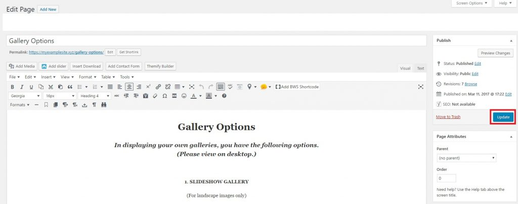 WordPress Gallery Tutorial, Editing Your Gallery