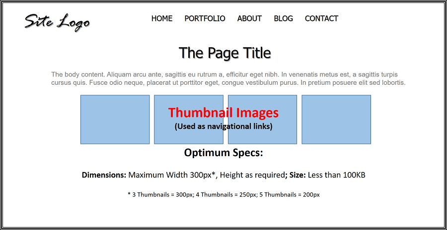 An image displaying optimal specs for thumbnail Images.