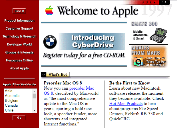 Web design and Apple, Then and Now.
