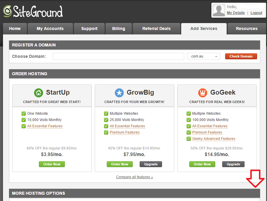 Siteground User Area, Add Services to transfer your existing domain.