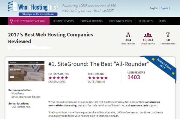 Siteground's webhosting review at WhoIsHostingThis?