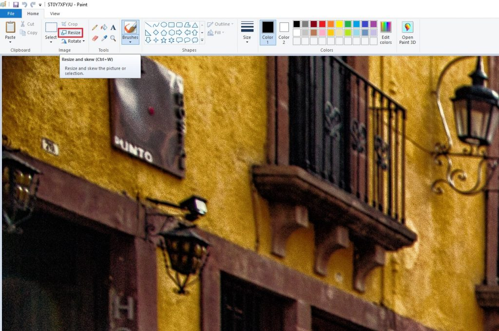 Resizing Images using Microsoft Paint