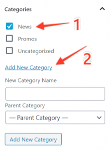 Choose a pre-selected category (1)or create a new one (2).